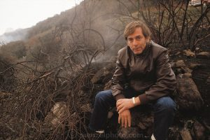 USA_SCI_NUKE_25_xs Scientist Richard Turco and Carl Sagan were on the scientific team that devised the concept of nuclear winter. Turco is seen here at the Nuclear Winter test fire: where a canyon outside Los Angeles was deliberately set on fire to study the potential climatic effects of a nuclear war. The nuclear winter theory predicts that smoke from fires burning after a nuclear war would block sunlight, causing a rapid drop in temperature that would trigger serious ecological disturbance. The test burn took place in December 1986 on 500 acres of brush in Lodi Canyon, Los Angeles. Dripping napalm from a helicopter ignited the fire. Ground-based temperature sensors were used to study soil erosion. Various airborne experiments included smoke sampling & high-altitude infrared imaging from a converted U-2 spy plane.